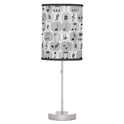 Stylish Monochrome Geometric Music Notes Pattern Table Lamp