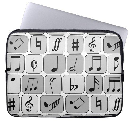 Stylish Monochrome Geometric Music Notes Pattern Laptop Sleeve
