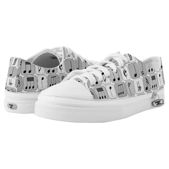 Stylish Monochrome Geometric Music Notes Pattern Low-Top Sneakers