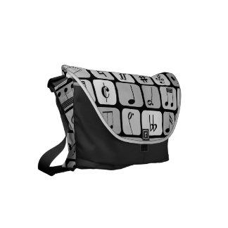 Stylish Monochrome Geometric Music Notes Pattern Messenger Bags