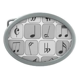Stylish Monochrome Geometric Music Notes Pattern Oval Belt Buckle