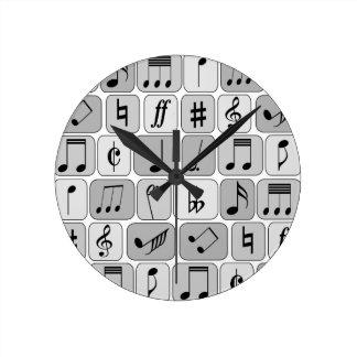 Stylish Monochrome Geometric Music Notes Pattern Round Clock