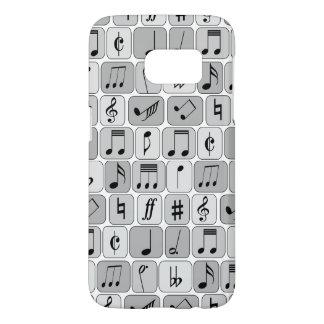 Stylish Monochrome Geometric Music Notes Pattern Samsung Galaxy S7 Case