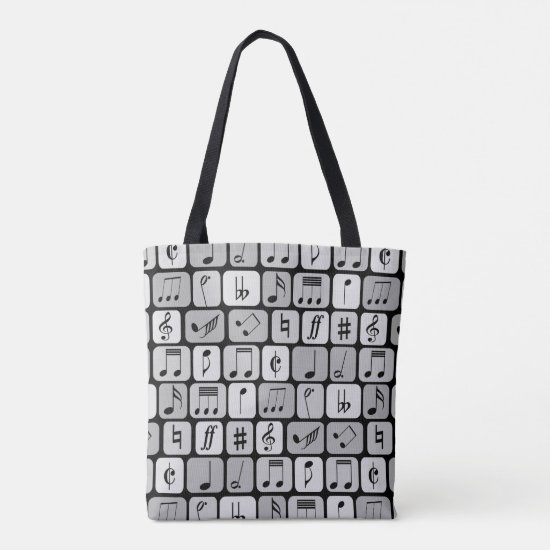 Stylish Monochrome Geometric Music Notes Pattern Tote Bag