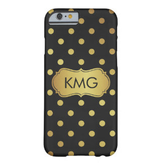 Stylish Monogram Black and Gold Polka Dots Barely There iPhone 6 Case