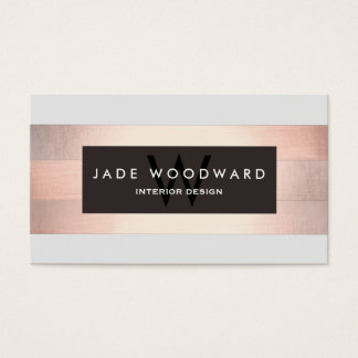 Stylish Monogram Copper Striped Designer Business Card