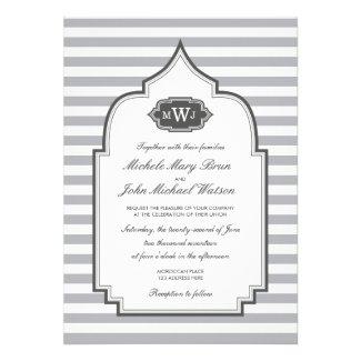 Stylish Monogram Grey White Wedding Invitation