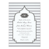 Stylish Monogram Grey White Wedding Invitation (<em>$2.01</em>)