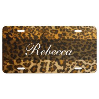 Stylish Monogram Leopard Animal Pattern License Plate