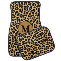 Stylish Monogram Leopard Print Custom Car Mats at Zazzle