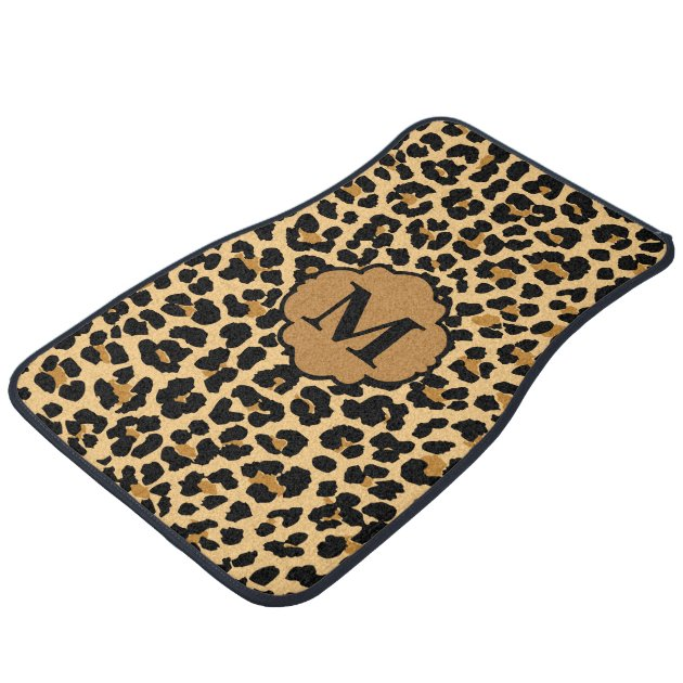 Stylish Monogram Leopard Print Custom Car Mats Zazzle