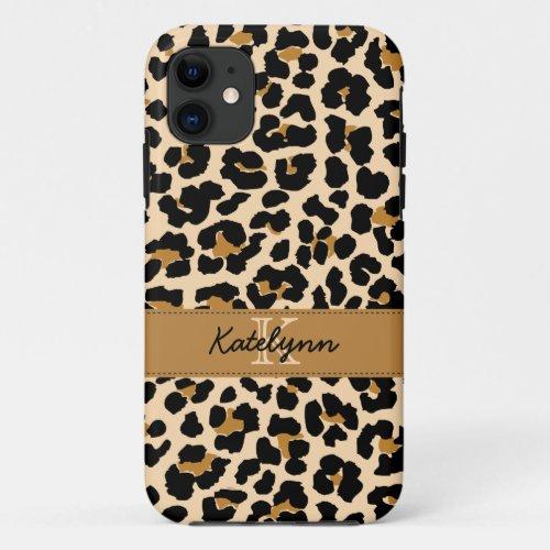 Stylish Monogram Leopard Print Phone Case Cover