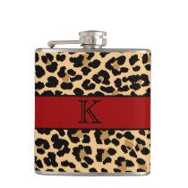 Stylish Monogram Leopard Print & Red Custom Flask