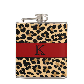 Stylish Monogram Leopard Print & Red Custom Flask