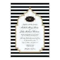 Stylish Monogram Moroccan Style Wedding Invitation