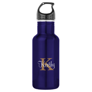 Stylish Monogram Name Cute Blue Personalized Stainless Steel Water Bottle