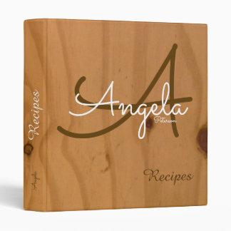stylish monogram on wood, my recipes-book binder