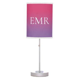 Stylish Monogram Pink to Purple Gradient Table Lamp