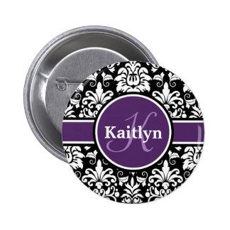 Stylish Monogram Purple Black White Damask Pins