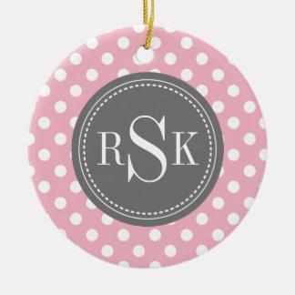 Stylish Monogram Trio Pink Polka Dots Ceramic Ornament