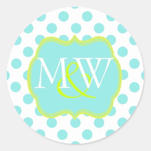 Stylish Monogram Wedding Envelope Sticker