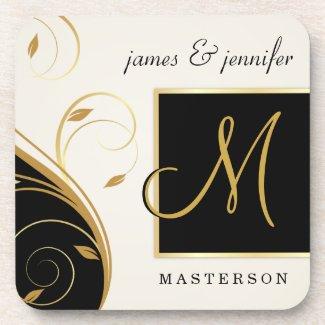 Stylish Monogram Wedding Gift Cork Coaster Set corkcoaster