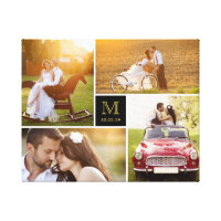 Stylish Monogram Wedding Photo Collage Canvas