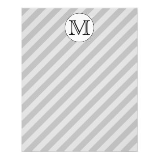 Stylish Monogram with Gray Stripes. Custom. Flyers