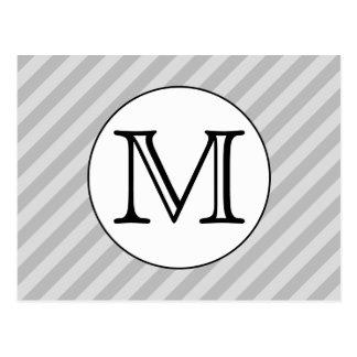 Stylish Monogram with Gray Stripes. Custom. Postcard