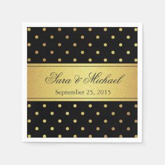 Stylish Monogrammed - Black and Gold Polka Dots Paper Napkin