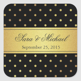 Stylish Monogrammed - Black and Gold Polka Dots Square Sticker