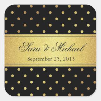 Stylish Monogrammed - Black and Gold Polka Dots Square Sticker