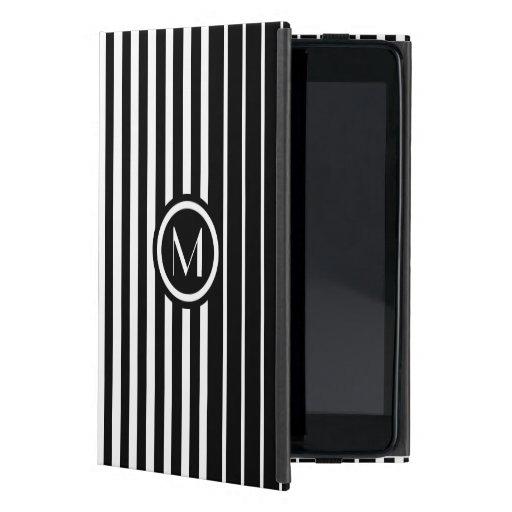 Stylish monogrammed black and white stripes iPad mini covers