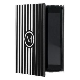 Stylish monogrammed black and white stripes iPad mini cases