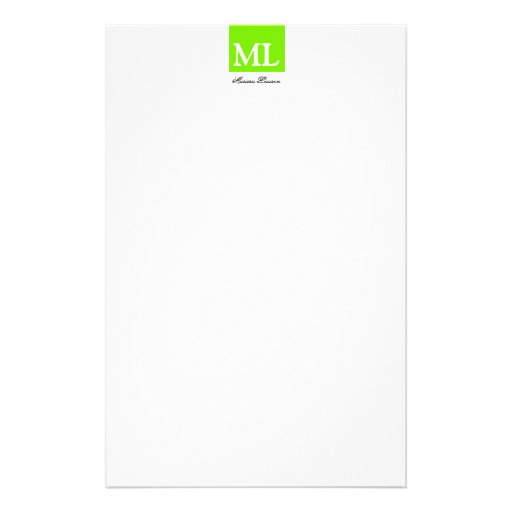 Stylish Monogrammed Lime Color Block Stationery Paper