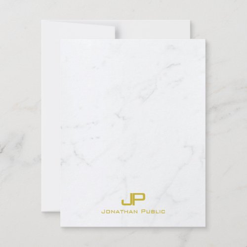 Stylish Monogrammed Modern Gold White Marble Cool Note Card