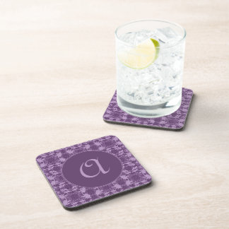 Stylish Monogrammed Purple And Lavender Pattern Beverage Coaster