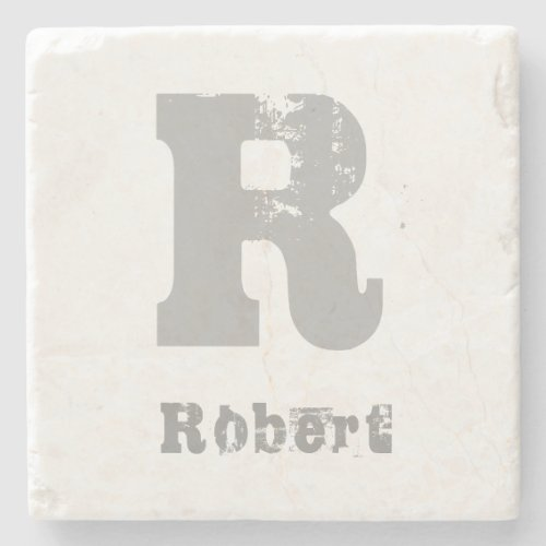 Stylish Monogrammed Template Elegant Letter Marble Stone Coaster