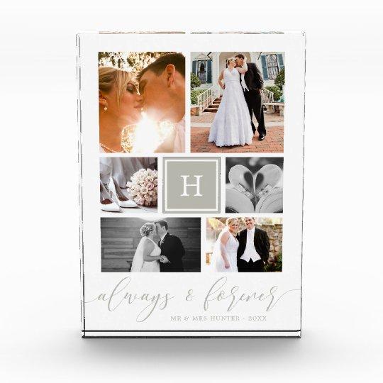 Stylish Monogrammed Wedding Collage Photo Block