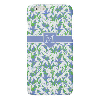Stylish Monogrammed White Snowdrop Pattern on Blue Glossy iPhone 6 Case