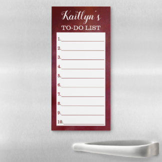 Stylish Moody Red To Do List Custom Magnetic Notepad
