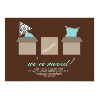 """Stylish Moving Boxes Moving Announcement 5"""" X 7"""" Invitation Card"""