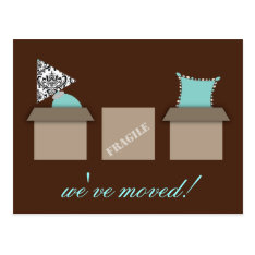 Stylish Moving Boxes Moving Announcement Postcard at Zazzle