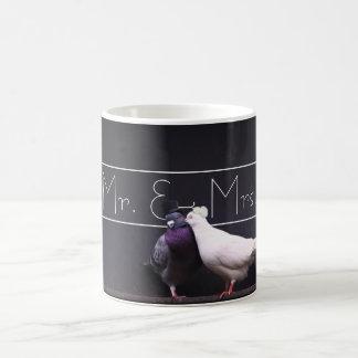 Stylish Mr. & Mrs. Pigeon Mugs