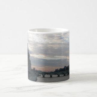 Stylish Mug with beautiful sunset in Paris