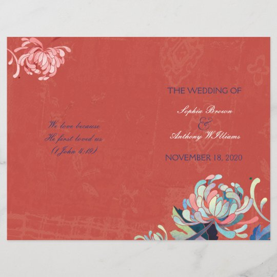 Stylish Mums Bi Fold Rustic Red Wedding Programs