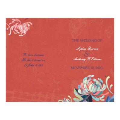 Stylish Mums Bi Fold Rustic Red Wedding Programs