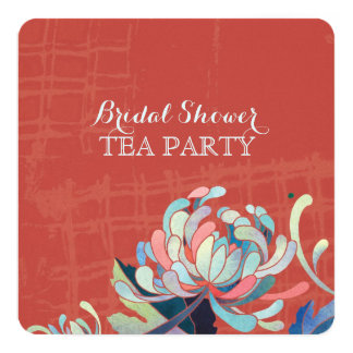 Stylish Mums Red Boho Bridal Shower Tea Party 5.25x5.25 Square Paper Invitation Card