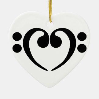 Stylish music bass clef heart design ceramic ornament