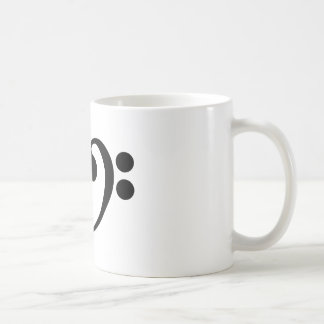 Stylish music bass clef heart design coffee mug